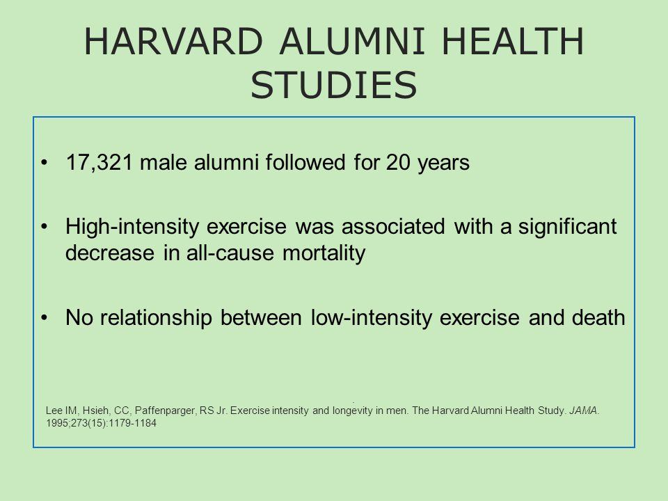 HARVARD ALUMNI HEALTH STUDIES 17,321 male alumni followed for 20 years High-intensity exercise was associated with a significant decrease in all-cause mortality No relationship between low-intensity exercise and death Lee IM, Hsieh, CC, Paffenparger, RS Jr.
