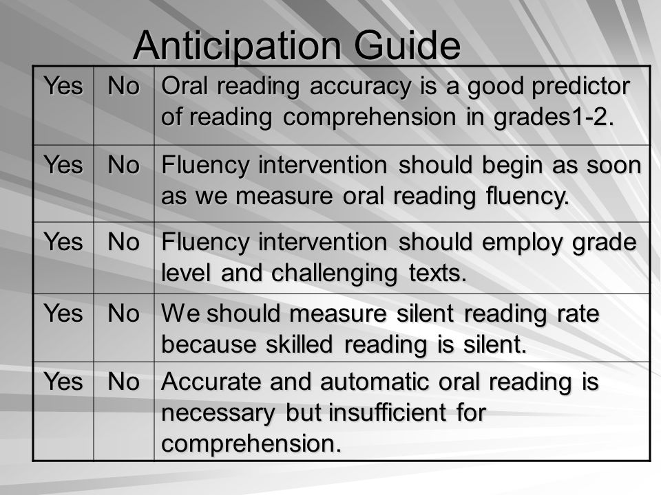 Anticipation Guide YesNo Oral reading accuracy is a good predictor of reading comprehension in grades1-2.