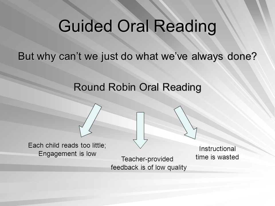 Guided Oral Reading But why can't we just do what we've always done.