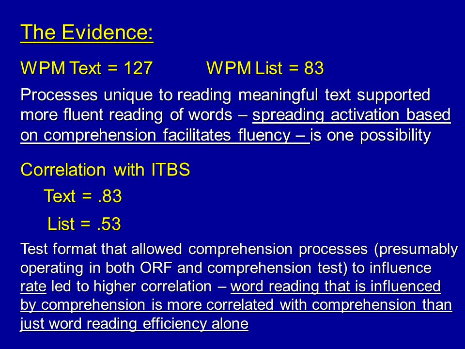 The Evidence: WPM Text = 127WPM List = 83 Correlation with ITBS Text =.83 List =.53 Processes unique to reading meaningful text supported more fluent reading of words – spreading activation based on comprehension facilitates fluency – is one possibility Test format that allowed comprehension processes (presumably operating in both ORF and comprehension test) to influence rate led to higher correlation – word reading that is influenced by comprehension is more correlated with comprehension than just word reading efficiency alone