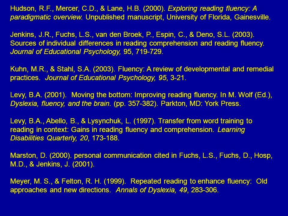 Hudson, R.F., Mercer, C.D., & Lane, H.B. (2000).