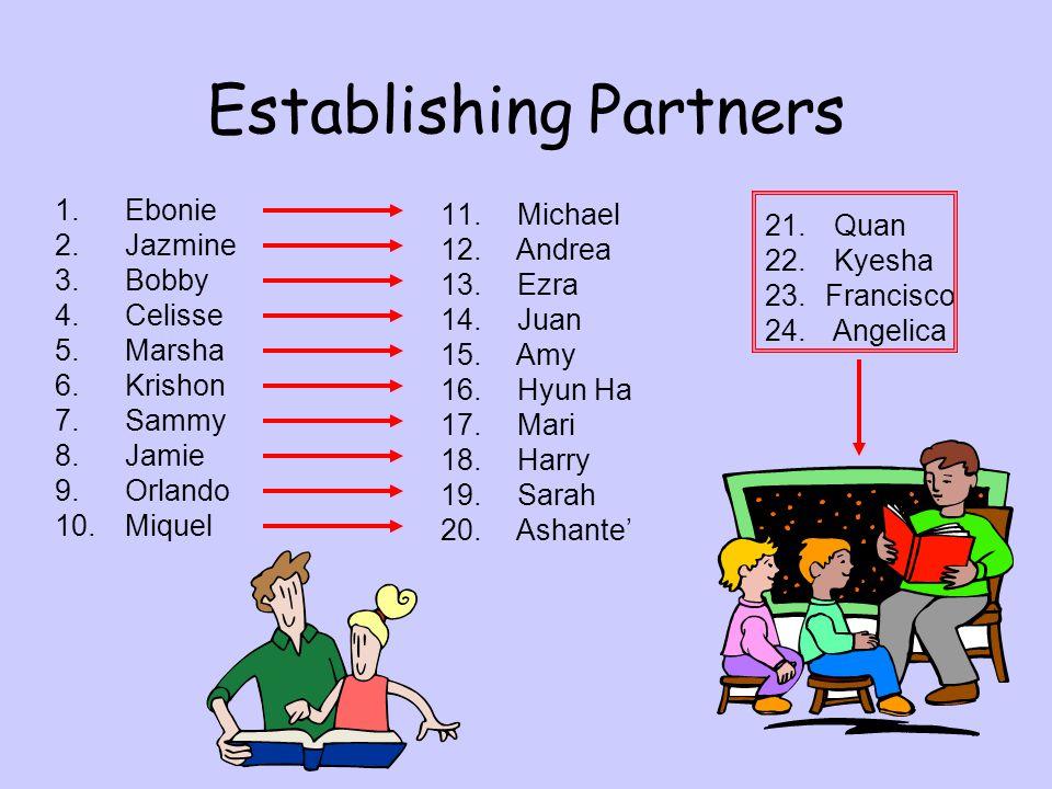 Establishing Partners 1.Ebonie 2.Jazmine 3.Bobby 4.Celisse 5.Marsha 6.Krishon 7.Sammy 8.Jamie 9.Orlando 10.Miquel 11. Michael 12. Andrea 13. Ezra 14.