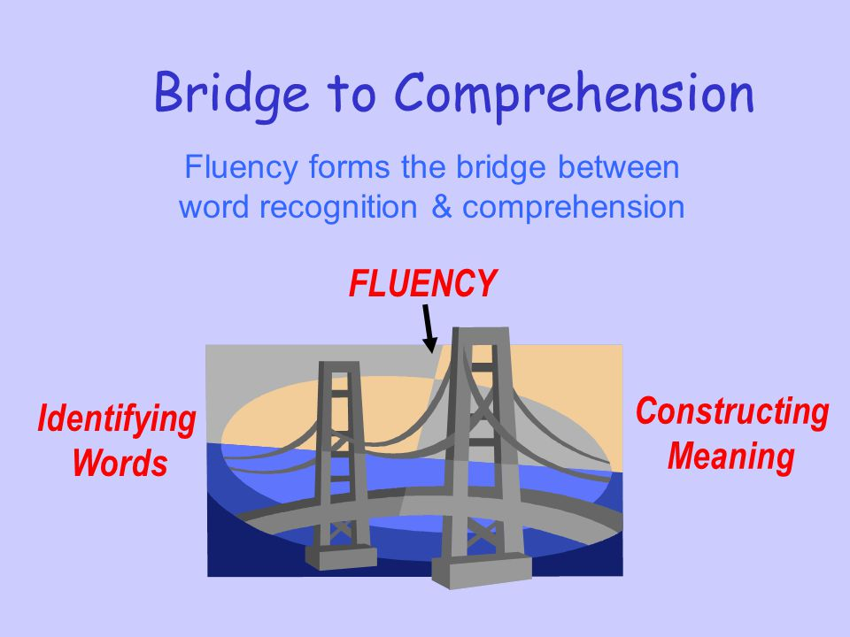 Bridge to Comprehension Fluency forms the bridge between word recognition & comprehension Identifying Words Constructing Meaning FLUENCY