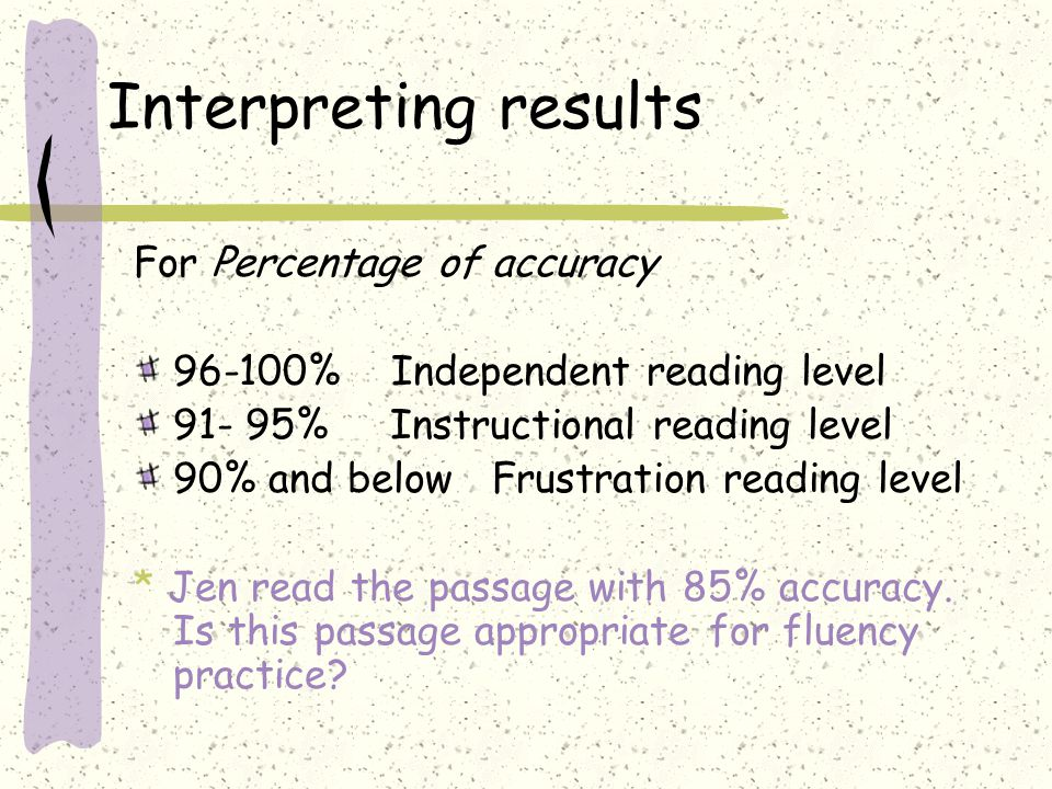 Interpreting results For Percentage of accuracy 96-100% Independent reading level 91- 95% Instructional reading level 90% and below Frustration readin