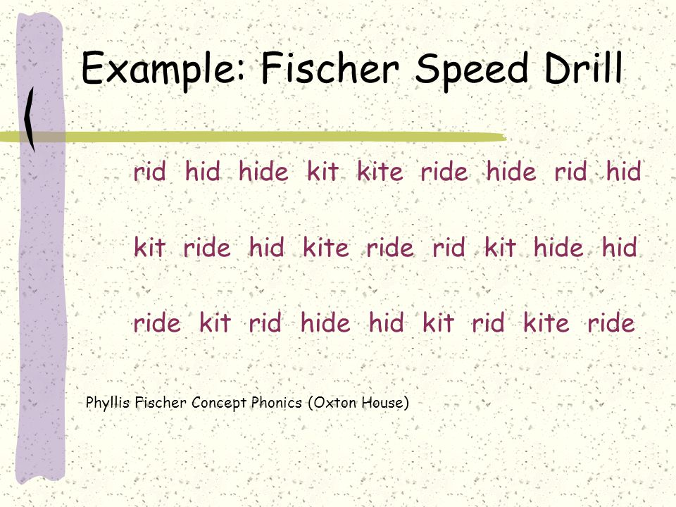 Example: Fischer Speed Drill rid hid hide kit kite ride hide rid hid kit ride hid kite ride rid kit hide hid ride kit rid hide hid kit rid kite ride P