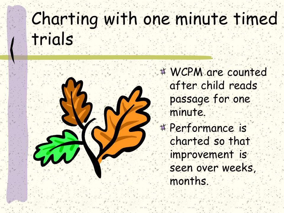 Charting with one minute timed trials WCPM are counted after child reads passage for one minute. Performance is charted so that improvement is seen ov