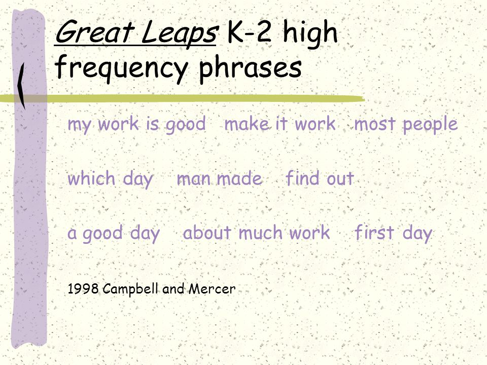 Great Leaps K-2 high frequency phrases my work is good make it work most people which day man made find out a good day about much work first day 1998