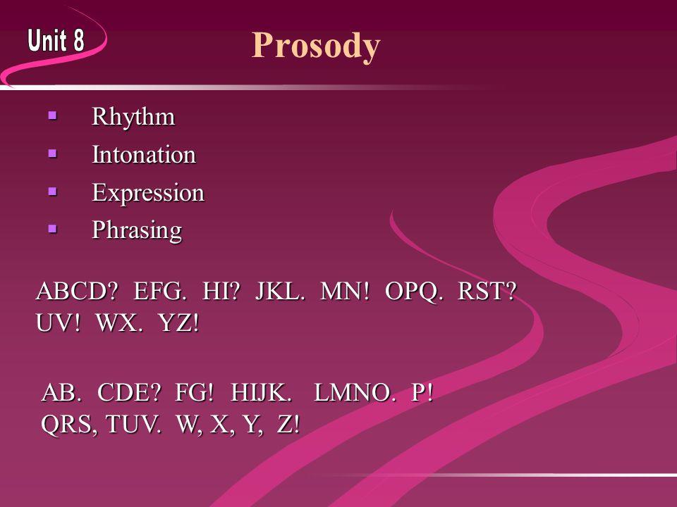  Rhythm  Intonation  Expression  Phrasing Prosody ABCD? EFG. HI? JKL. MN! OPQ. RST? UV! WX. YZ! AB. CDE? FG! HIJK. LMNO. P! QRS, TUV. W, X, Y, Z!