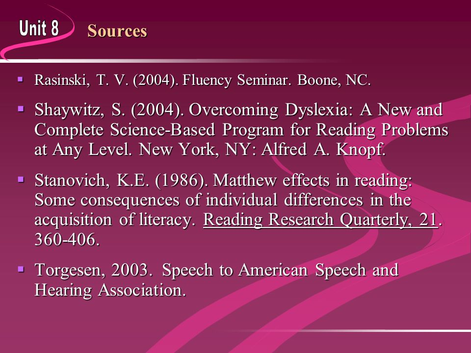 Sources  Rasinski, T. V. (2004). Fluency Seminar. Boone, NC.  Shaywitz, S. (2004). Overcoming Dyslexia: A New and Complete Science-Based Program for