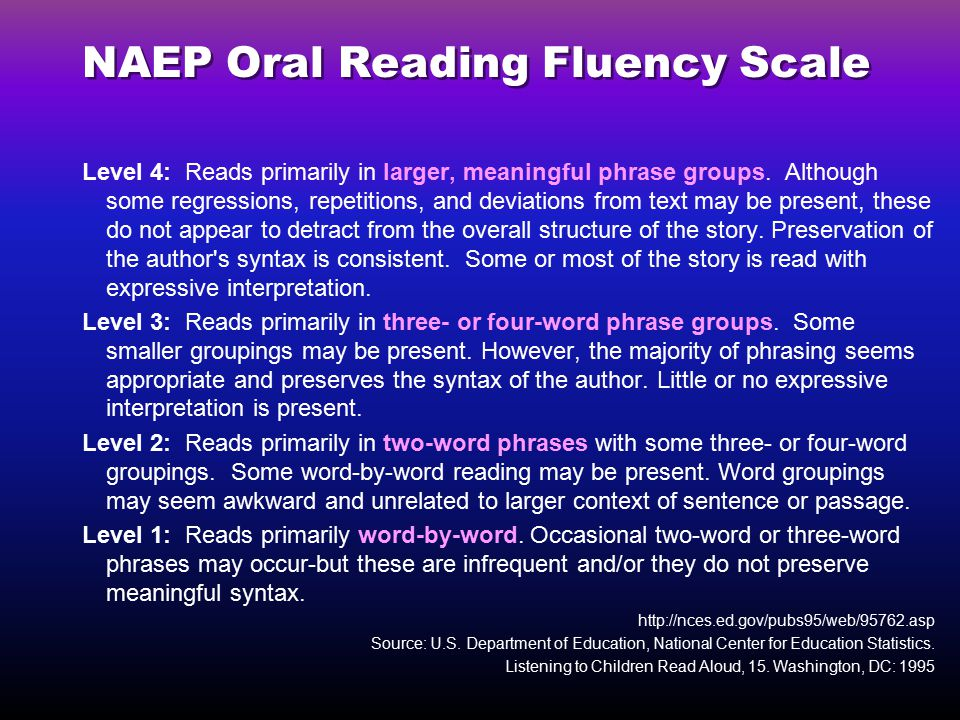 NAEP Oral Reading Fluency Scale Level 4: Reads primarily in larger, meaningful phrase groups.