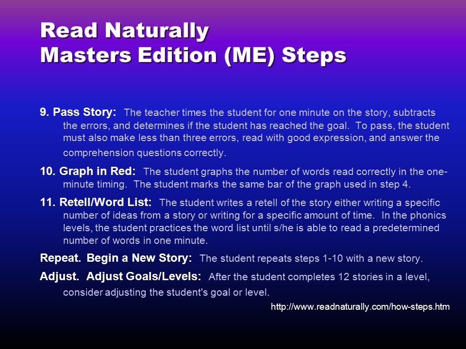 Read Naturally Masters Edition (ME) Steps 9.