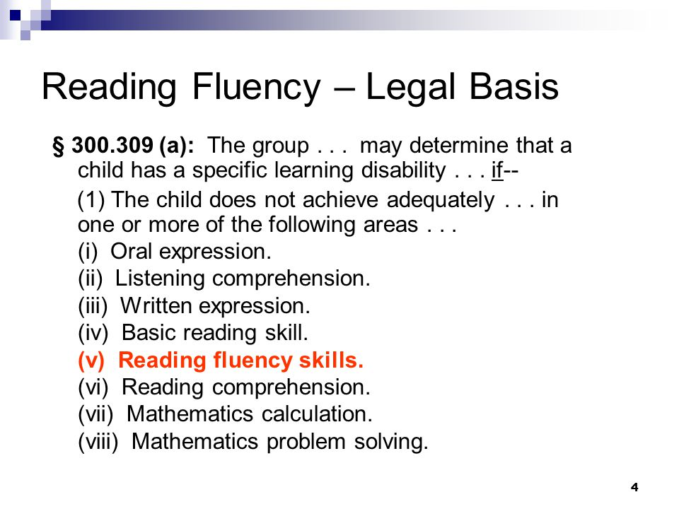 15 Assessing Reading Fluency To assess rate and accuracy, can use a subtest, but a cluster score from a normative instrument is preferred Assess prosody with qualitative measures Use a standard score just as you would with any other area of SLD.