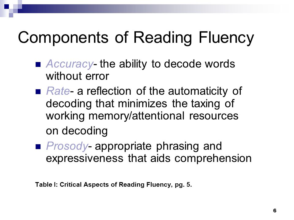 17 Assessing Reading Fluency Some Standardized Tests KTEA 2 (Reading Fluency subscale) WJ-III (Reading Fluency subtest) Gray Oral Reading Test IV (Rate + Accuracy) Test of Silent Word Reading Fluency Others Some Criterion-Referenced Measures Texas Primary Reading Inventory Qualitative Reading Inventory (QRI) DIBELS