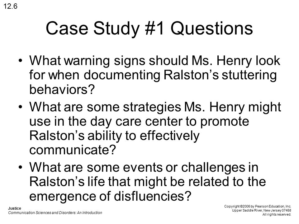 Case Study #1 Questions What warning signs should Ms.