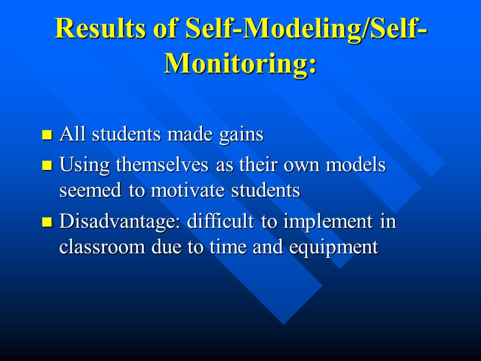 Results of Self-Modeling/Self- Monitoring: All students made gains All students made gains Using themselves as their own models seemed to motivate stu