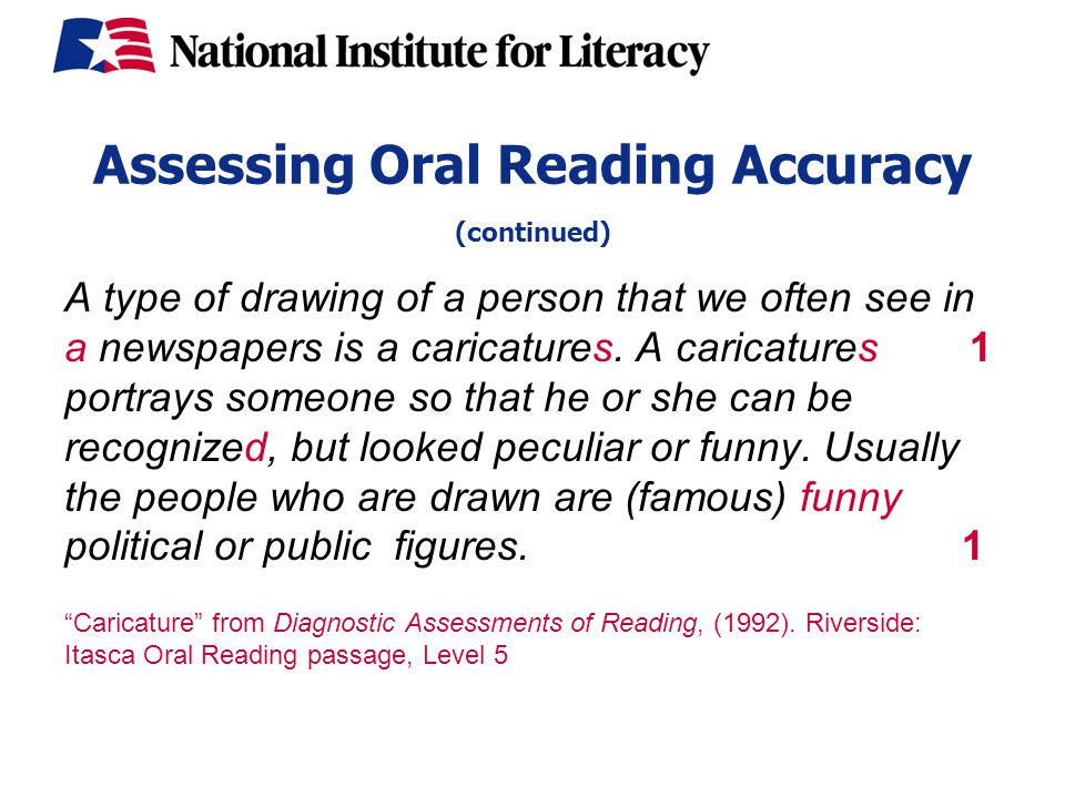 Assessing Oral Reading Accuracy (continued) A type of drawing of a person that we often see in a newspapers is a caricatures.