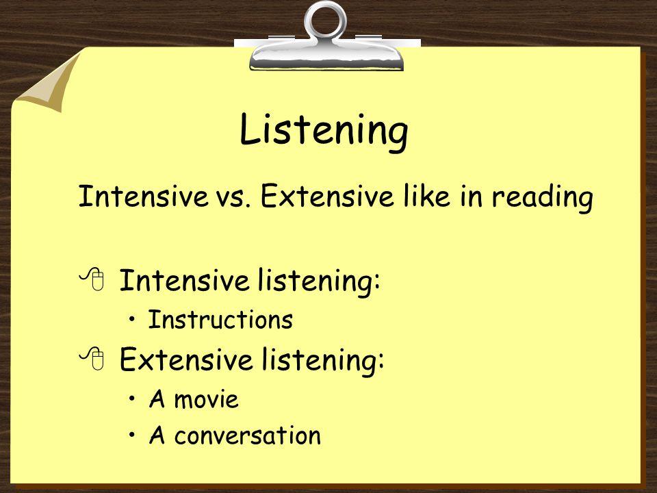 Listening Intensive vs.