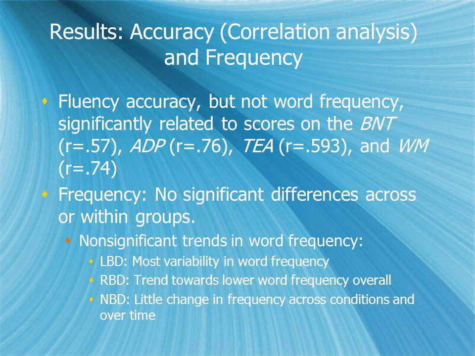 Results: Accuracy (Correlation analysis) and Frequency  Fluency accuracy, but not word frequency, significantly related to scores on the BNT (r=.57),