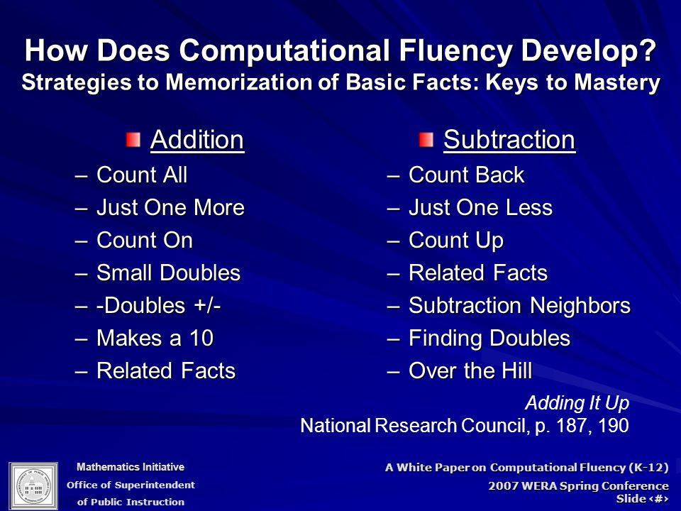 Mathematics Initiative Office of Superintendent of Public Instruction A White Paper on Computational Fluency (K-12) 2007 WERA Spring Conference Slide 34 How Does Computational Fluency Develop.