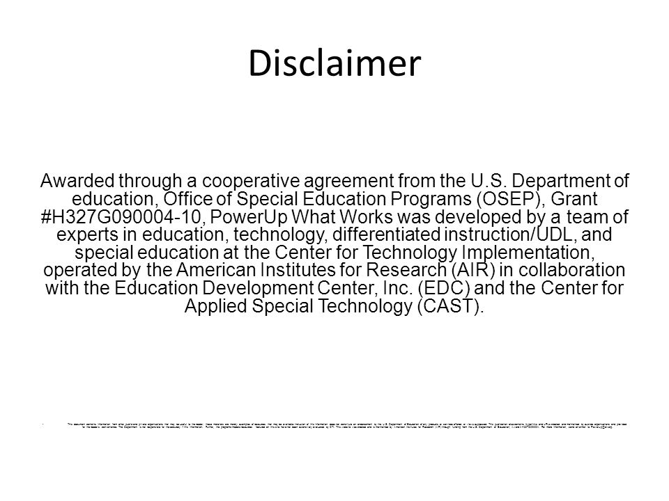 Disclaimer Awarded through a cooperative agreement from the U.S.