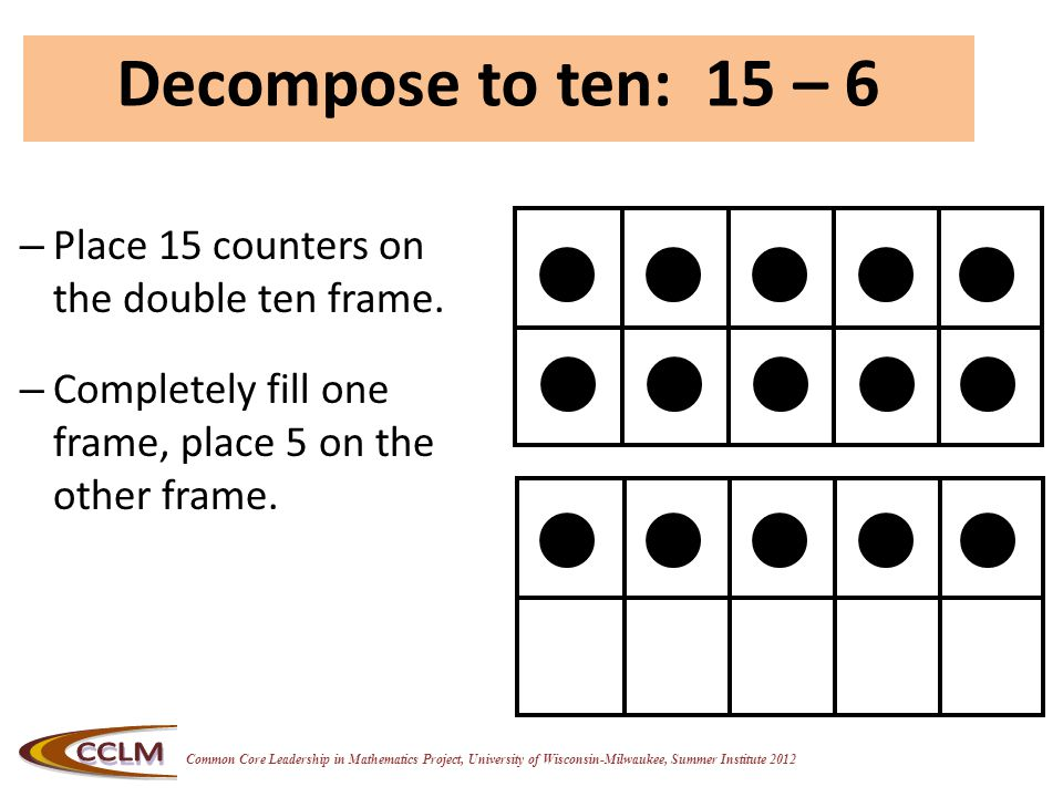 Common Core Leadership in Mathematics Project, University of Wisconsin-Milwaukee, Summer Institute 2012 – Place 15 counters on the double ten frame.