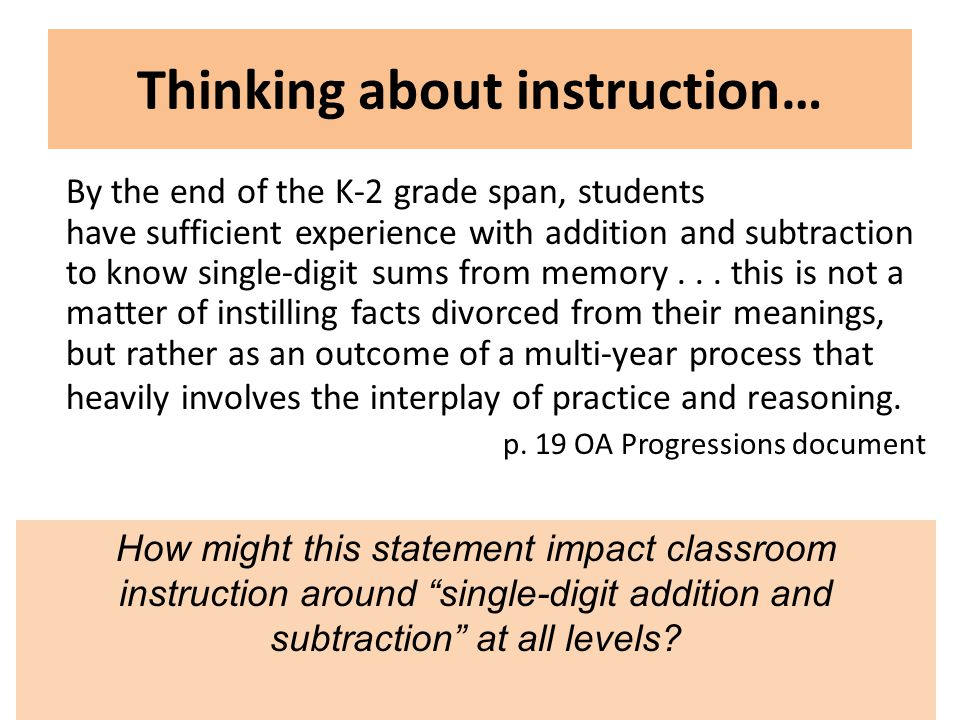 Common Core Leadership in Mathematics Project, University of Wisconsin-Milwaukee, Summer Institute 2012 Thinking about instruction… By the end of the K-2 grade span, students have sufficient experience with addition and subtraction to know single-digit sums from memory...