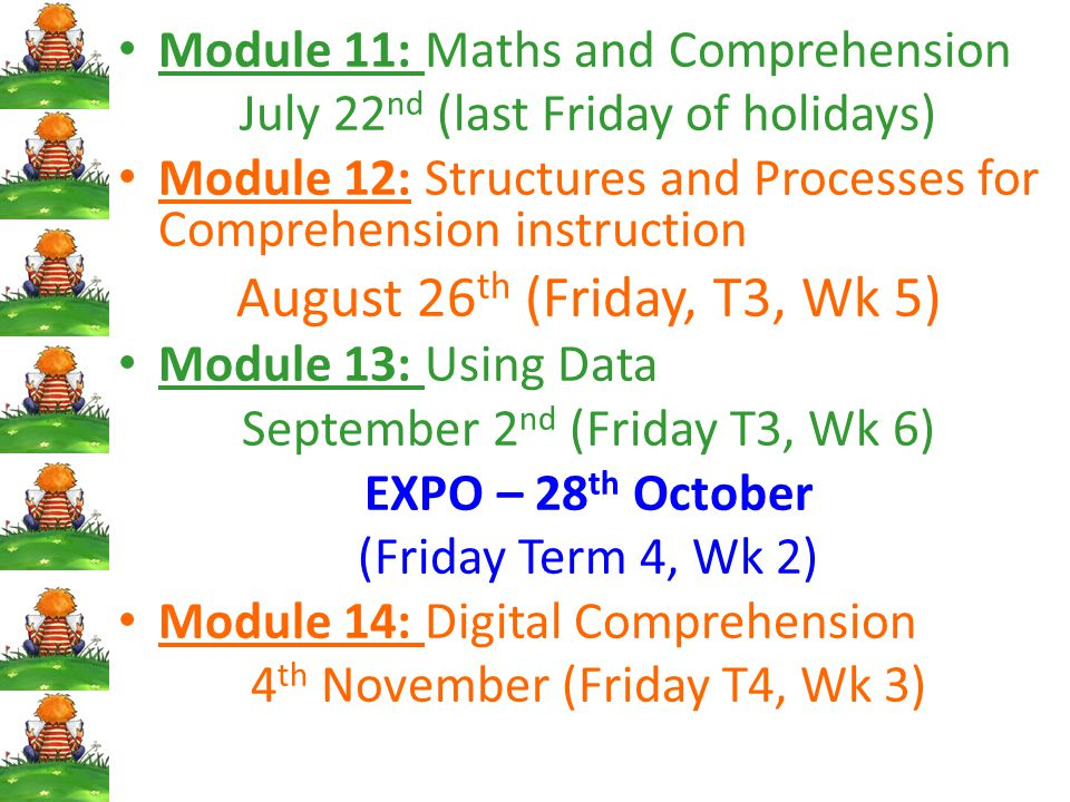 Module 11: Maths and Comprehension July 22 nd (last Friday of holidays) Module 12: Structures and Processes for Comprehension instruction August 26 th (Friday, T3, Wk 5) Module 13: Using Data September 2 nd (Friday T3, Wk 6) EXPO – 28 th October (Friday Term 4, Wk 2) Module 14: Digital Comprehension 4 th November (Friday T4, Wk 3)