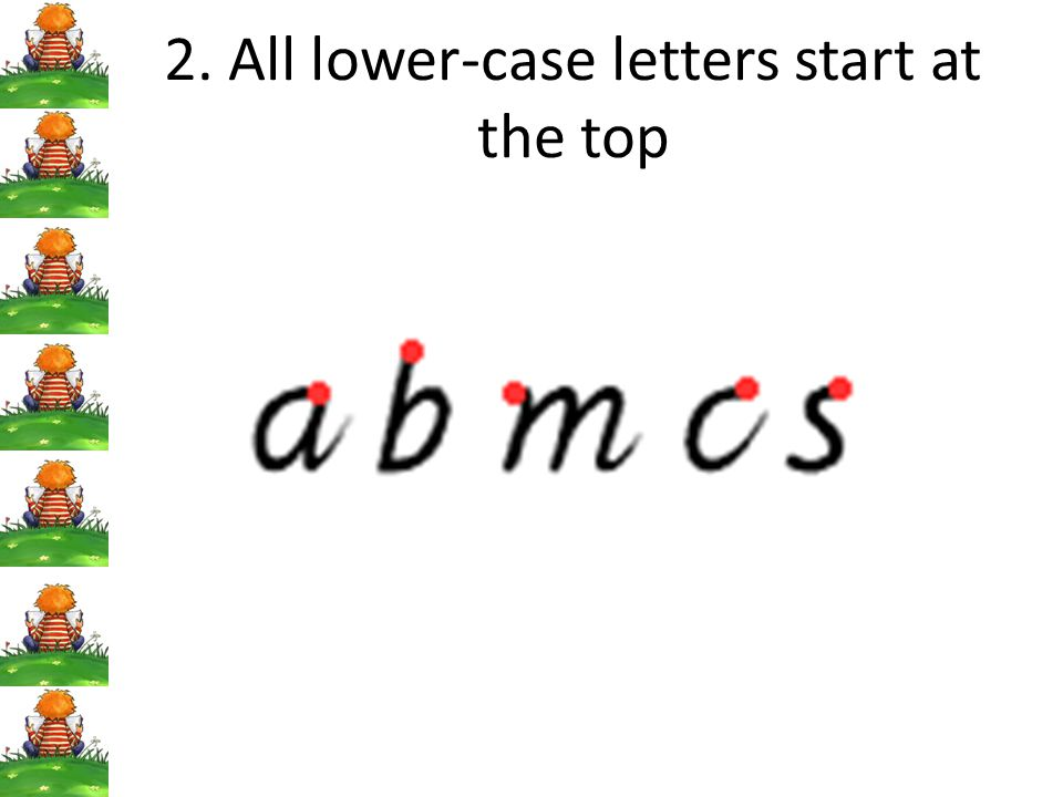 2. All lower-case letters start at the top