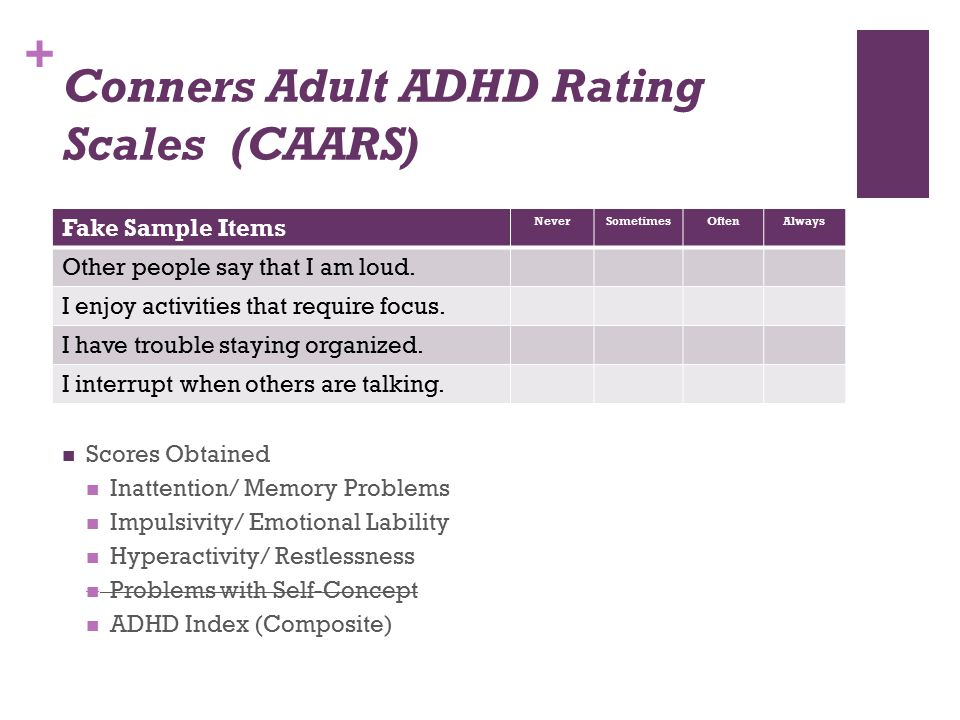+ Conners Adult ADHD Rating Scales (CAARS) Fake Sample Items NeverSometimesOftenAlways Other people say that I am loud. I enjoy activities that requir