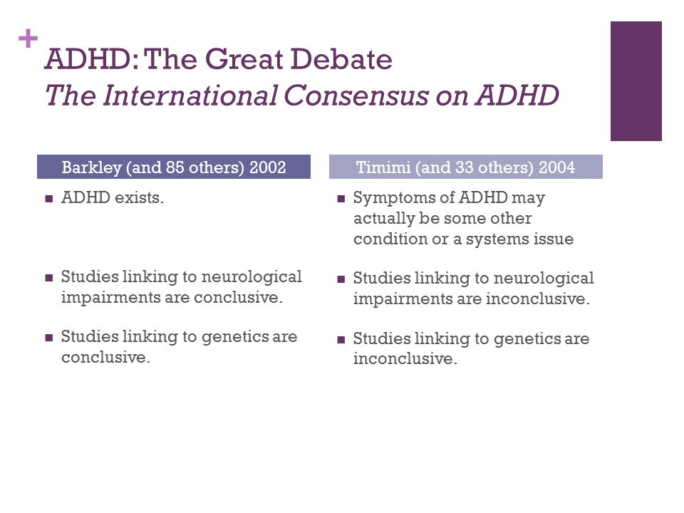 + ADHD: The Great Debate The International Consensus on ADHD ADHD exists. Studies linking to neurological impairments are conclusive. Studies linking