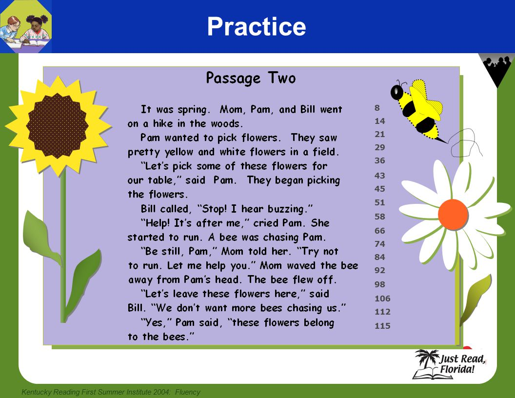 Kentucky Reading First Summer Institute 2004: Fluency Practice 8 14 21 29 36 43 45 51 58 66 74 84 92 98 106 112 115
