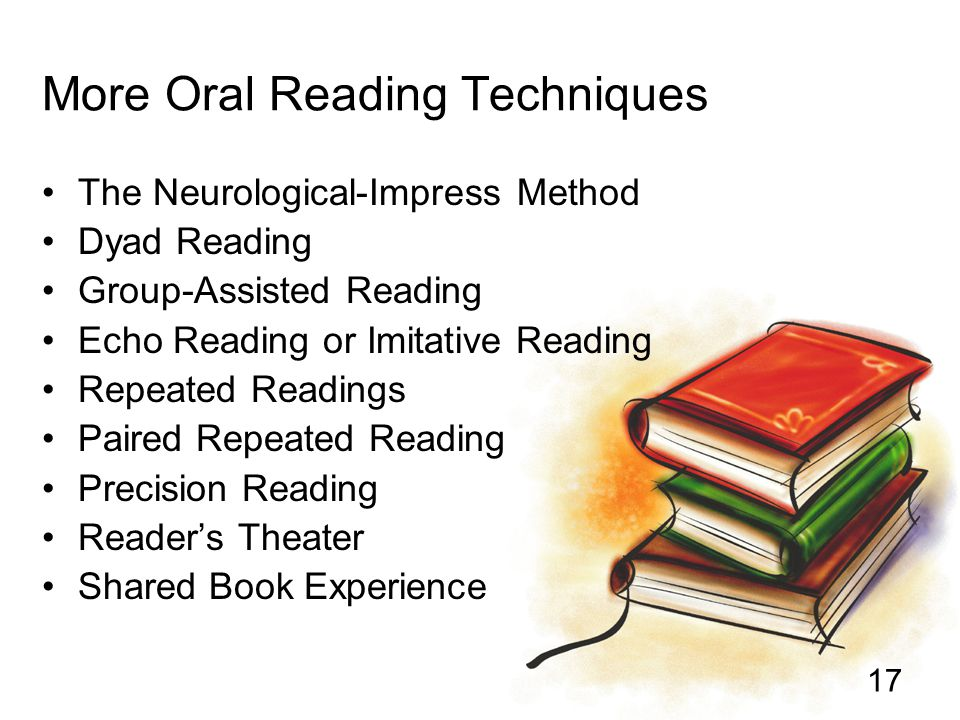 17 More Oral Reading Techniques The Neurological-Impress Method Dyad Reading Group-Assisted Reading Echo Reading or Imitative Reading Repeated Reading