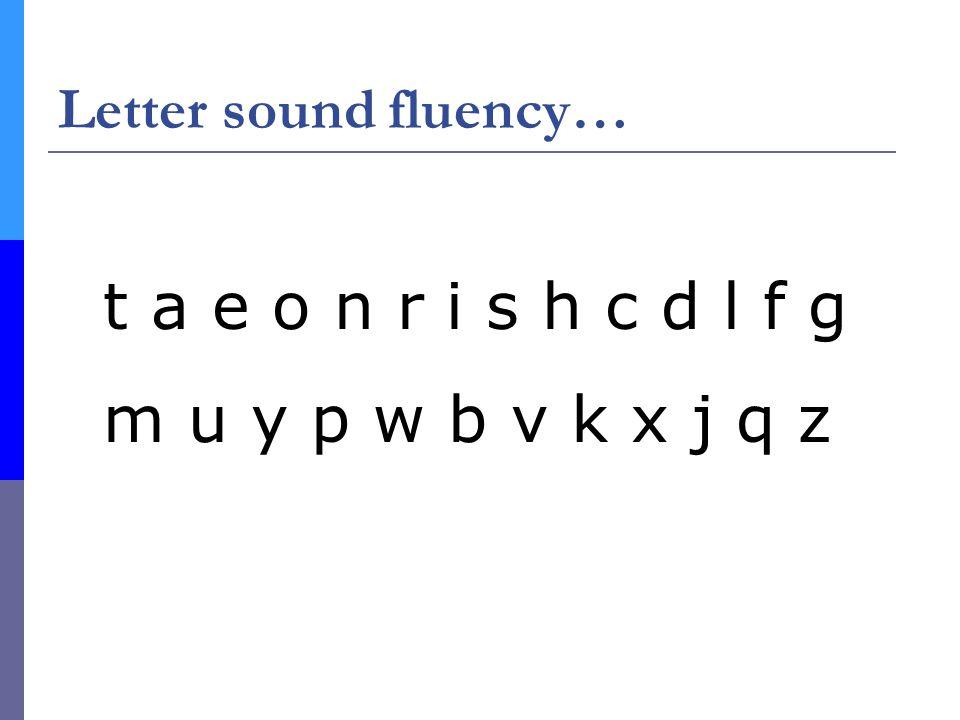 Letter sound fluency… t a e o n r i s h c d l f g m u y p w b v k x j q z