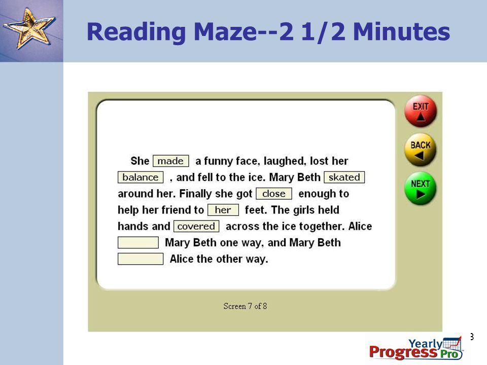 108 Reading Maze--2 1/2 Minutes