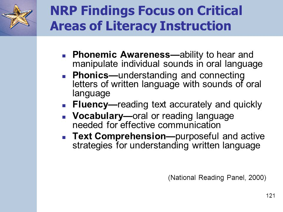 121 NRP Findings Focus on Critical Areas of Literacy Instruction Phonemic Awareness—ability to hear and manipulate individual sounds in oral language
