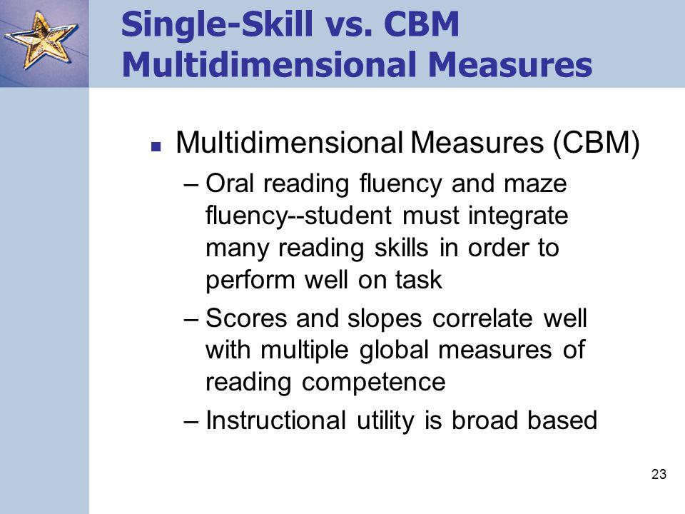 23 Single-Skill vs. CBM Multidimensional Measures Multidimensional Measures (CBM) –Oral reading fluency and maze fluency--student must integrate many