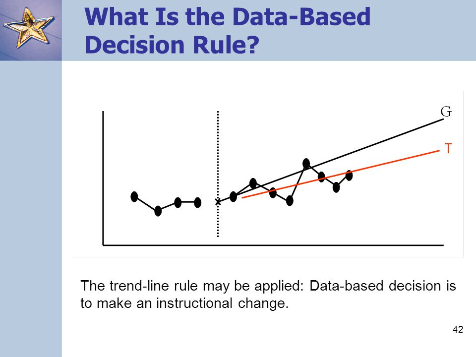 42 What Is the Data-Based Decision Rule? The trend-line rule may be applied: Data-based decision is to make an instructional change.
