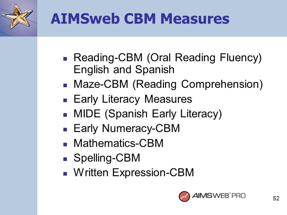 52 AIMSweb CBM Measures Reading-CBM (Oral Reading Fluency) English and Spanish Maze-CBM (Reading Comprehension) Early Literacy Measures MIDE (Spanish
