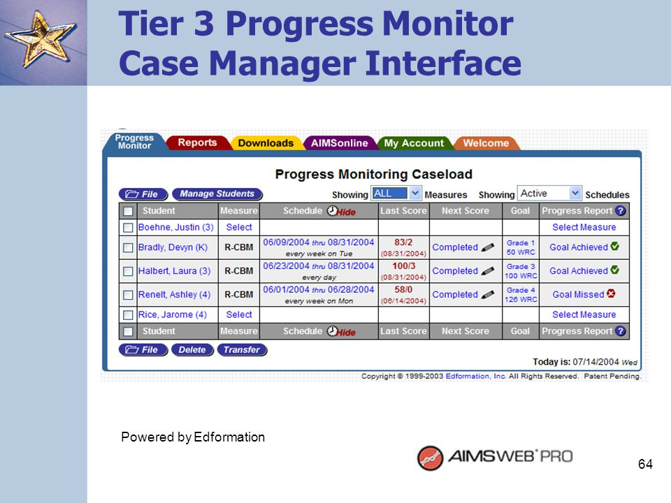 64 Tier 3 Progress Monitor Case Manager Interface Powered by Edformation