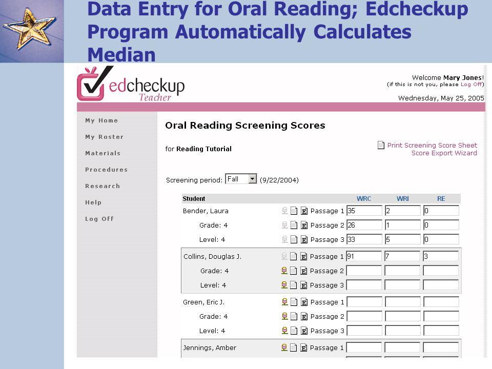 89 Data Entry for Oral Reading; Edcheckup Program Automatically Calculates Median