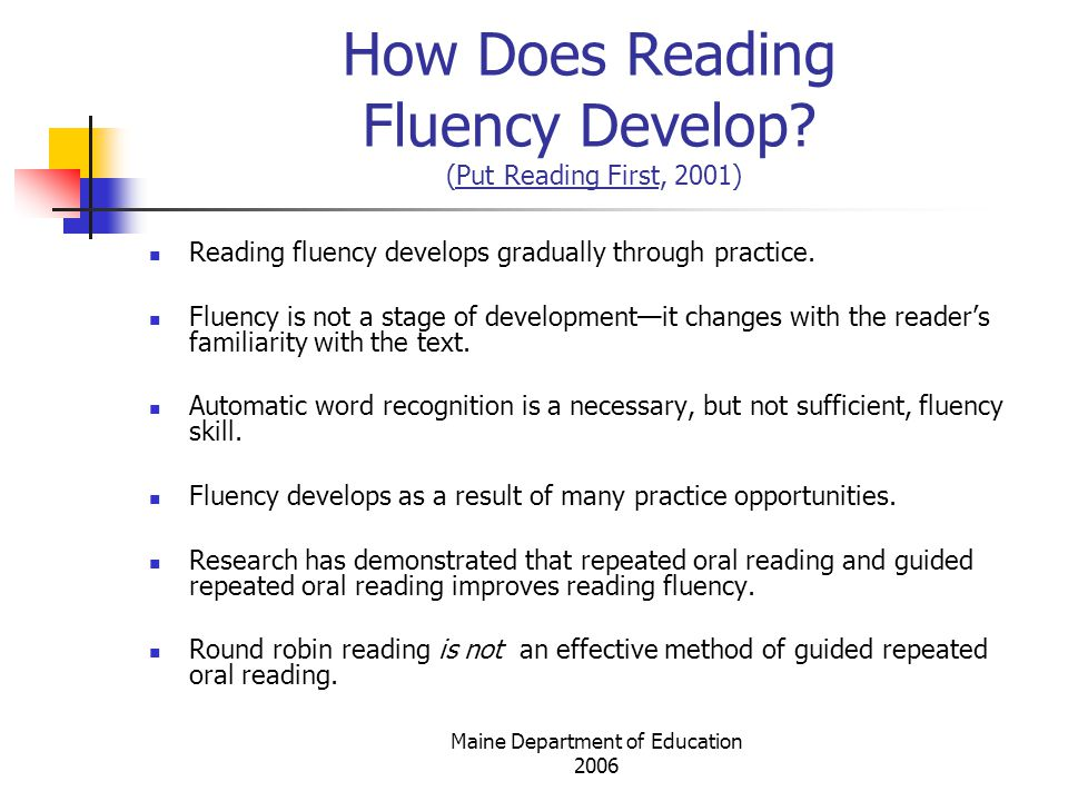 Maine Department of Education 2006 How Does Reading Fluency Develop.