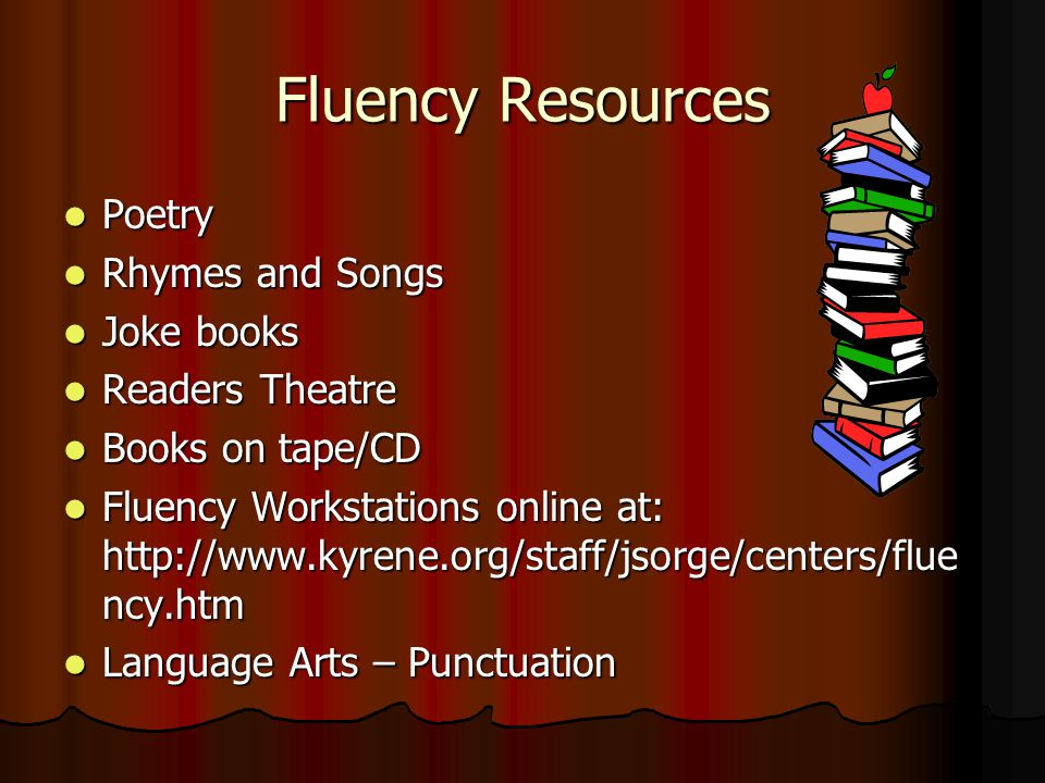 Fluency Resources Poetry Poetry Rhymes and Songs Rhymes and Songs Joke books Joke books Readers Theatre Readers Theatre Books on tape/CD Books on tape/CD Fluency Workstations online at: http://www.kyrene.org/staff/jsorge/centers/flue ncy.htm Fluency Workstations online at: http://www.kyrene.org/staff/jsorge/centers/flue ncy.htm Language Arts – Punctuation Language Arts – Punctuation