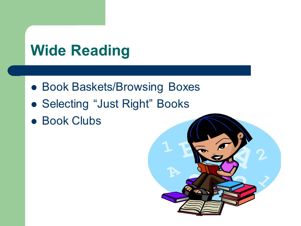 Wide Reading Book Baskets/Browsing Boxes Selecting Just Right Books Book Clubs