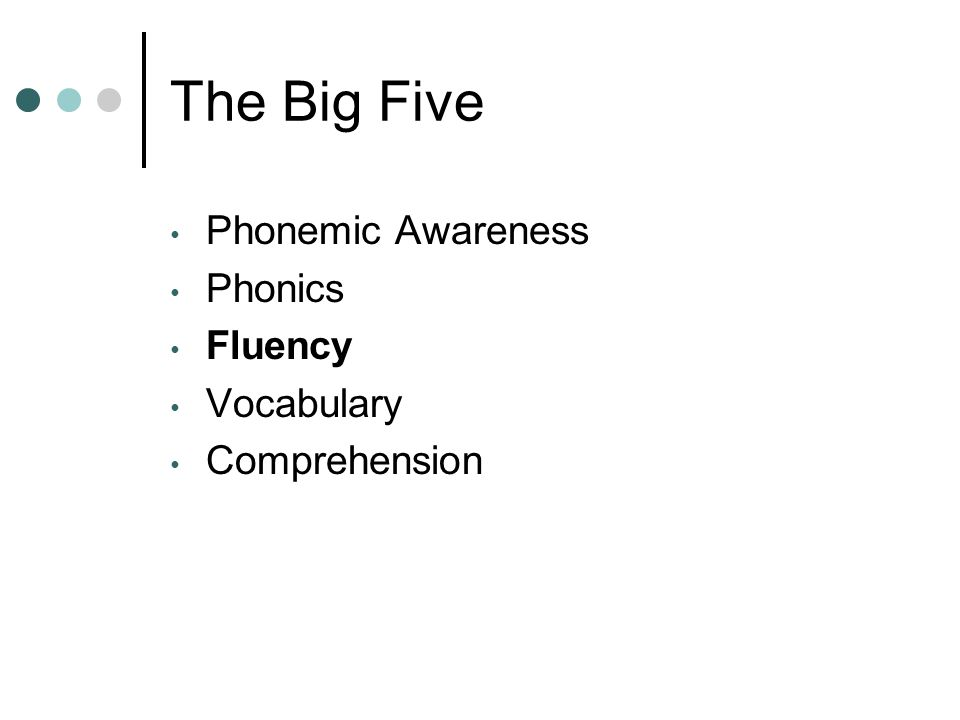 The Big Five Phonemic Awareness Phonics Fluency Vocabulary Comprehension