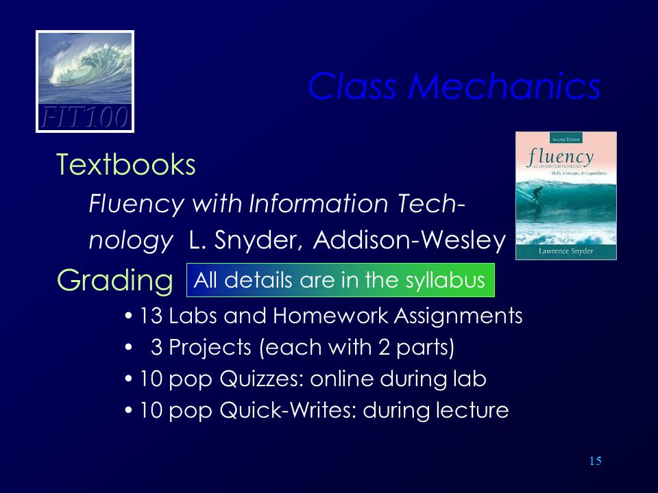 15 Class Mechanics Textbooks Fluency with Information Tech- nology L. Snyder, Addison-Wesley Grading 13 Labs and Homework Assignments 3 Projects (each