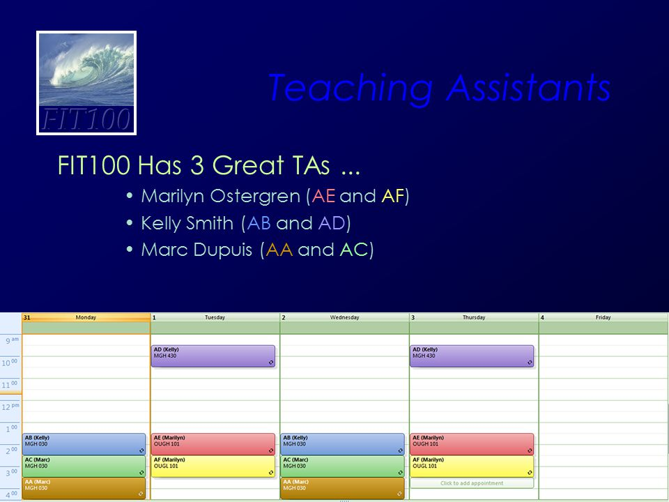 17 Teaching Assistants FIT100 Has 3 Great TAs... Marilyn Ostergren (AE and AF) Kelly Smith (AB and AD) Marc Dupuis (AA and AC)