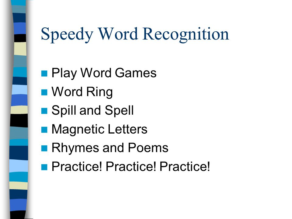 Speedy Word Recognition Play Word Games Word Ring Spill and Spell Magnetic Letters Rhymes and Poems Practice.