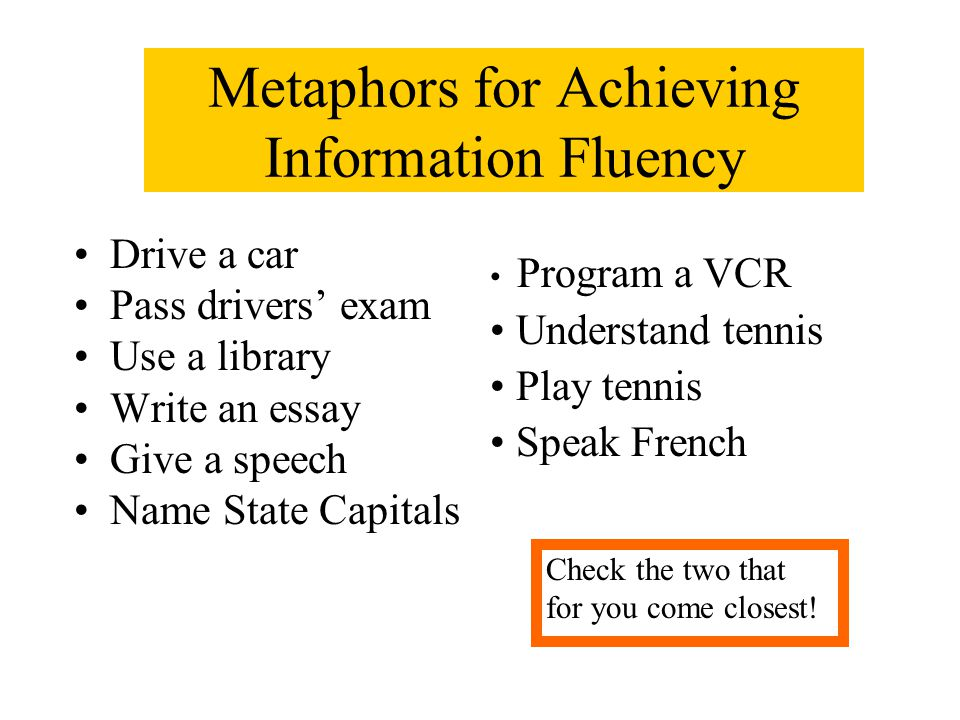 Metaphors for Achieving Information Fluency Drive a car Pass drivers' exam Use a library Write an essay Give a speech Name State Capitals Check the tw