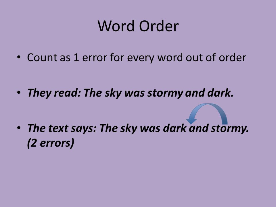 Word Order Count as 1 error for every word out of order They read: The sky was stormy and dark.