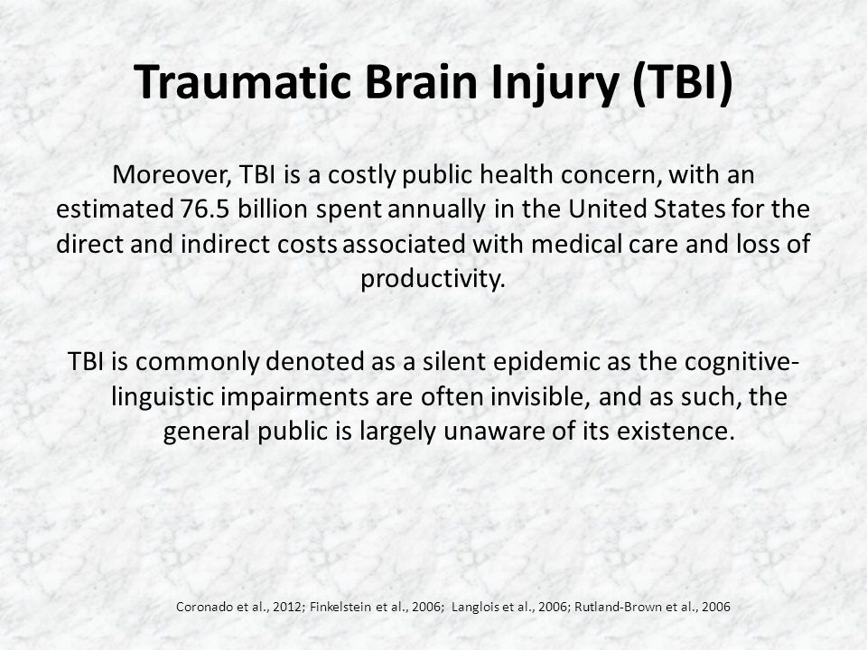 Traumatic Brain Injury (TBI) Within this context, a significant number of individuals with TBI often report some degree of cognitive-linguistic impairment, particularly in the areas of attention, memory, and executive function.